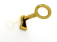 Gold key over white